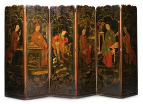 A Chinoiserie lacquer-decorated six-panel screen 19th century - Sotheby's
