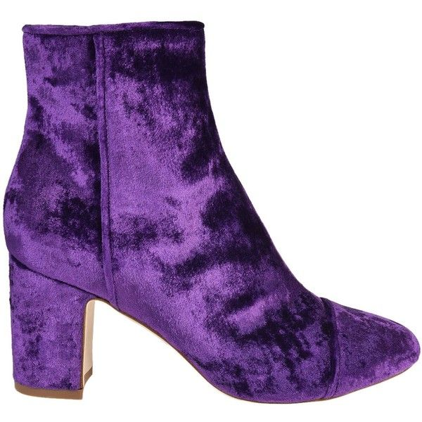Ally Velvet Ankle Boots ($440) ❤ liked on Polyvore featuring shoes, boots, ankle booties, purple, womenshoesboots, block heel ankle boots, round toe booties, purple ankle boots, side zipper boots and block heel bootie