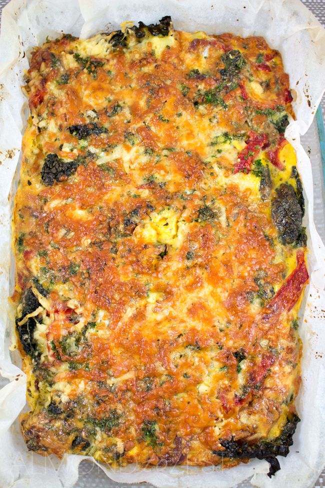 Chorizo, Kale, Potato and Red Bell Pepper Frittata - Sweet red bell peppers…
