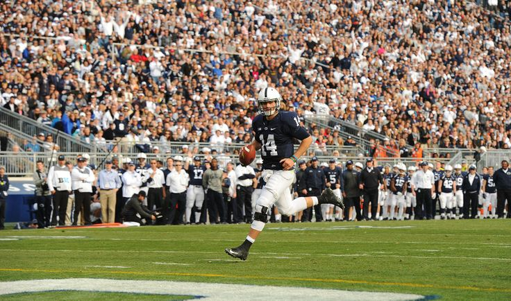 PENN STATE – FOOTBALL 2013 – HACKENBERG scores final TD on fake handoff to Zwinak and run around right end.
