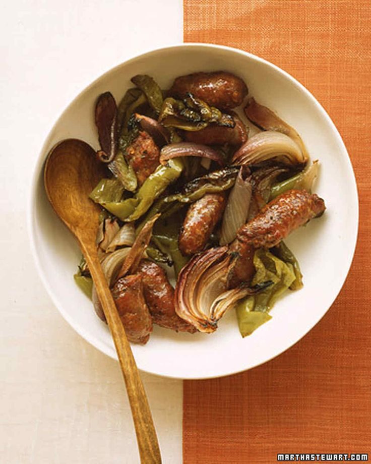 Vegetables, which vary widely in their protein content, are valuable for bringing fiber to protein centered meals. Turkey sausage is combined with sweet, vitamin C-rich Cubanelle peppers.