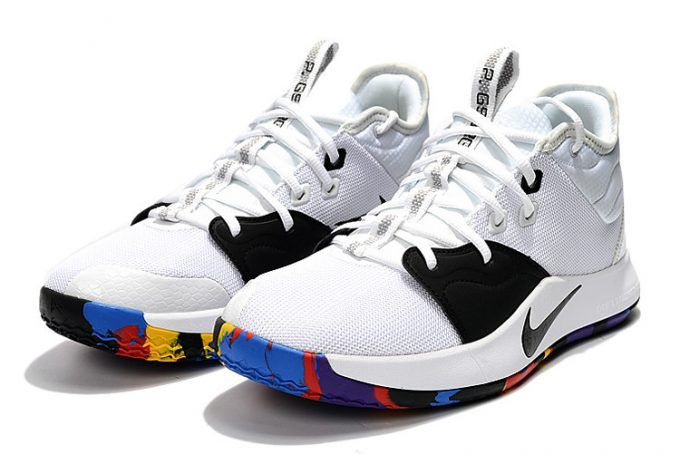 competitive price f8288 7978c Mens Nike PG 3 NCAA White Multi-Color Basketball Shoes-4
