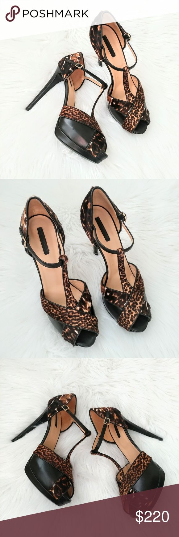 New Long Champ Le Pliage stiletto sandals Animal print, leopard, leather, peep toe, platform sandals.  Condition: new, no box Size: 40 Longchamp Shoes Heels