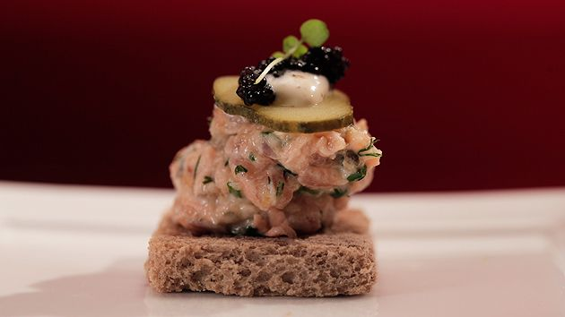 Salmon Rillette On Rye Crisps with Horseradish Cream