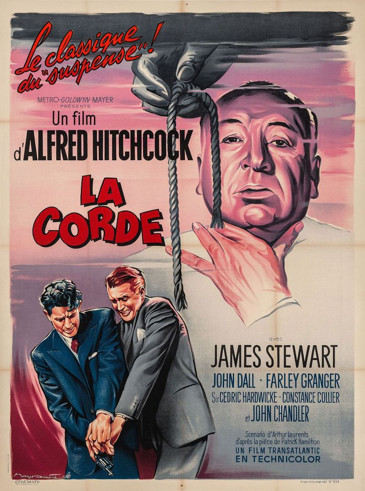 1950s re-release French grande for ROPE (Alfred Hitchcock, USA, 1948) Artist: Roger Soubie (1898-1984) [see also] Poster source: Heritage Auctions