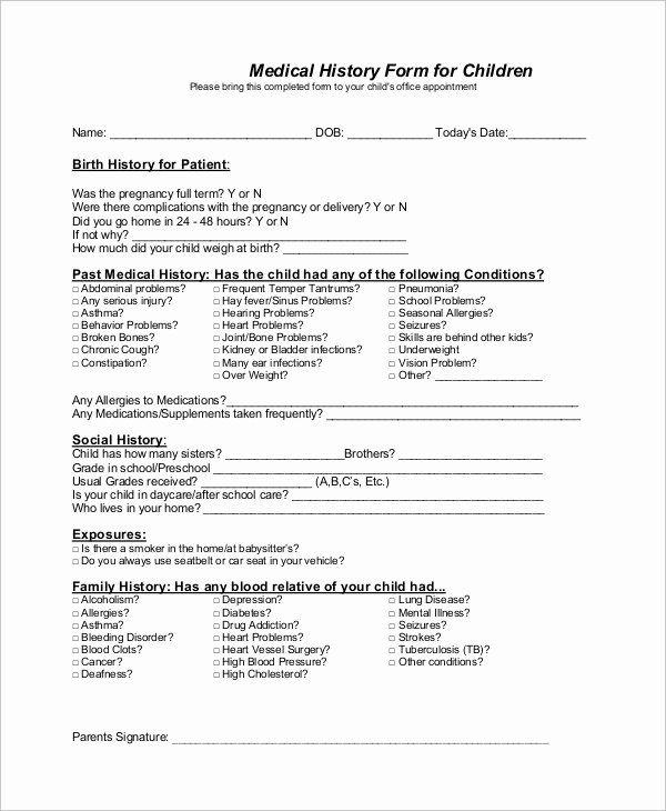 Sample Health History Form Unique Sample Medical History Form 10