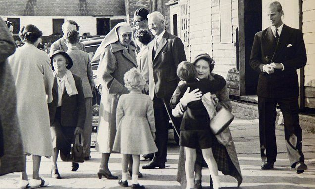 These never-before-seen black and white photographs capture the Royal Family meeting friends and well-wishers during an annual visit to Scotland in the 1950s.