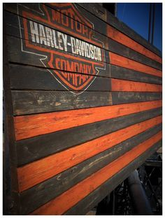 Harley Davidson Sign Harley Davidson Flag by woodencrossshop