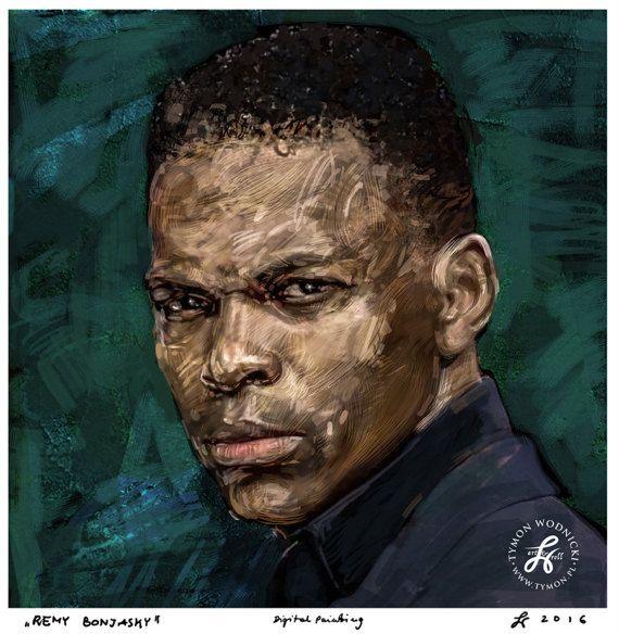 Portrait of REMY BONJASKY - K1 Champion / famous kick boxer, canvas, celebrity, artwork, decor, karate poster, best gift, watercolour