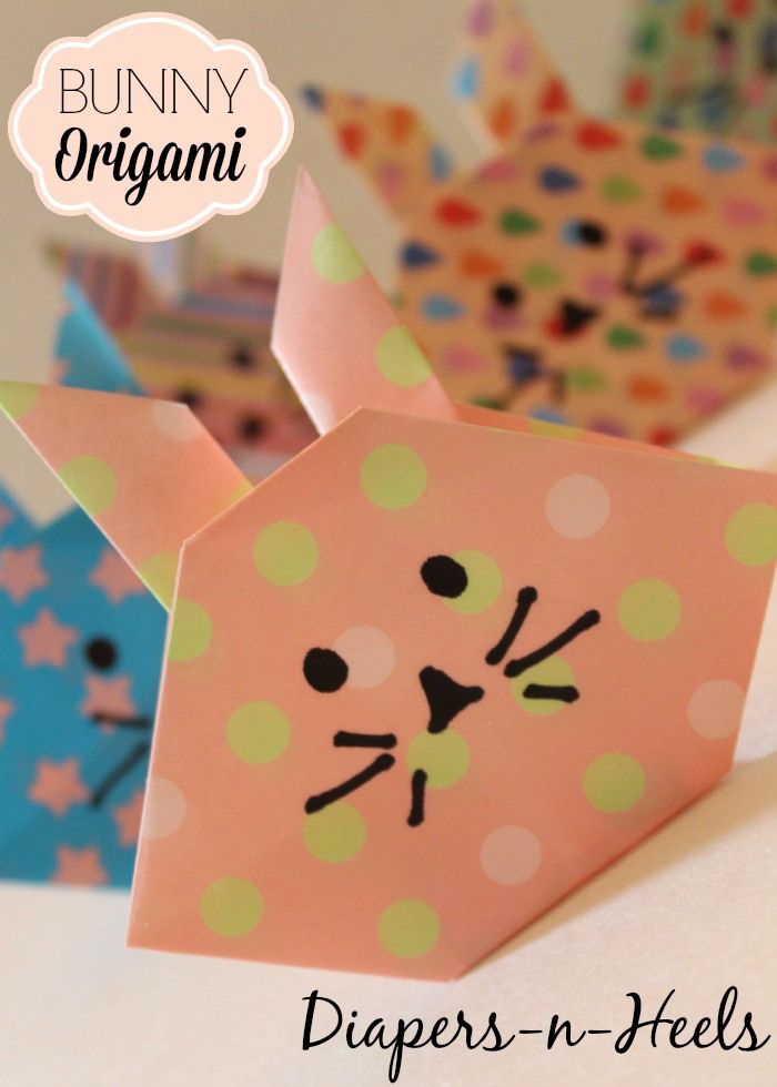 Bunny Origami - Kids Easter Crafts - Easter Activities - www.madewithHAPPY.com