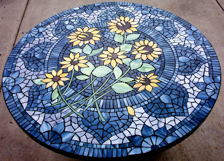Mosaic sunflower table