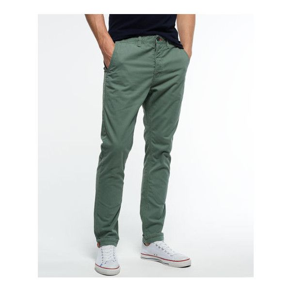 Superdry Rookie Chino (1 690 UAH) ❤ liked on Polyvore featuring men's fashion, men's clothing, men's pants, men's casual pants and green