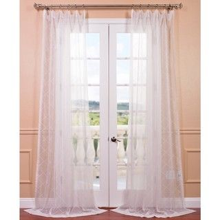 Vita off white embroidered sheer curtain panel
