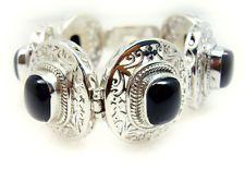 Black Onyx 925 Sterling Silver Bracelet delicate Black handmade AU gift
