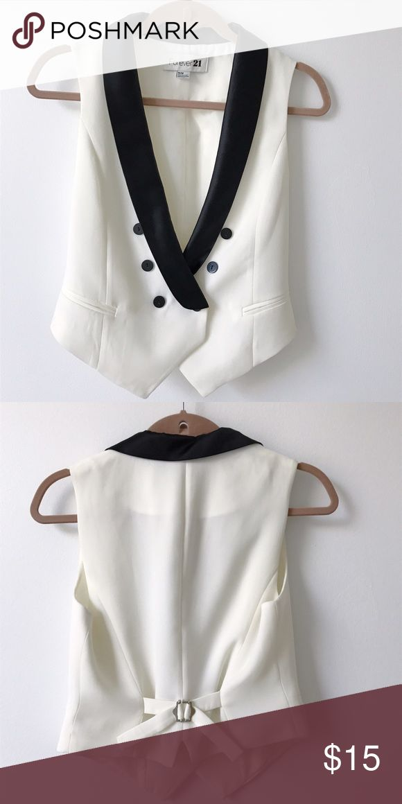 Forever 21 Black and White Tuxedo Vest Like new, only worn a handful of times. Adjustable straps in the back for a tighter fit. Forever 21 Jackets & Coats Vests