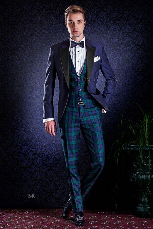 ONGala 1540 - Giacca smoking blu notte misto lana con gilet e pantalone in lana Tartan