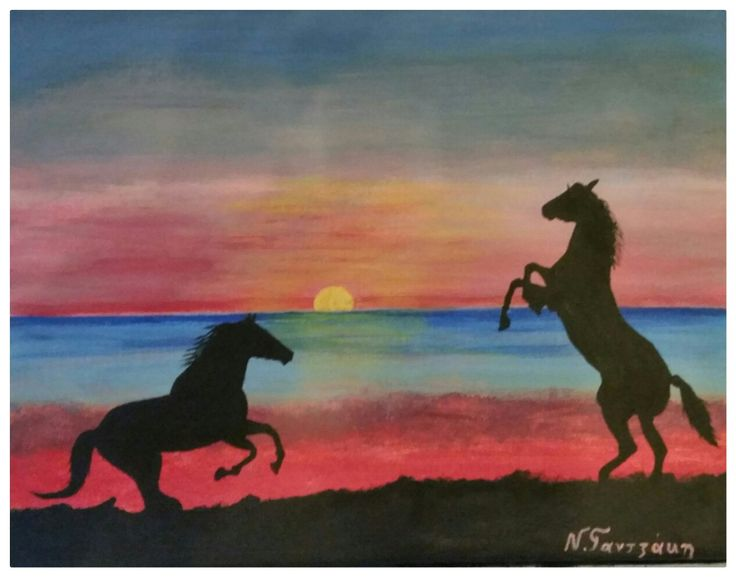 Horses on sunset