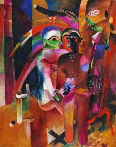 Heinrich Campendonk (1889-1957, deutsch -niederländischer Maler und Grafiker)  - Love On The Forest (1920)