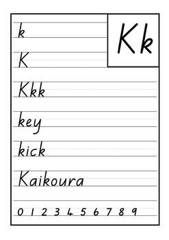 New Zealand Handwriting / Printing Cards. The font used is the 'New Zealand Basic Script'. The letter shapes are identical to those recommended in the NZ Ministry of Education Handbook - 'Teaching Handwriting'. Students look at the card and copy one line of each letter/word into their