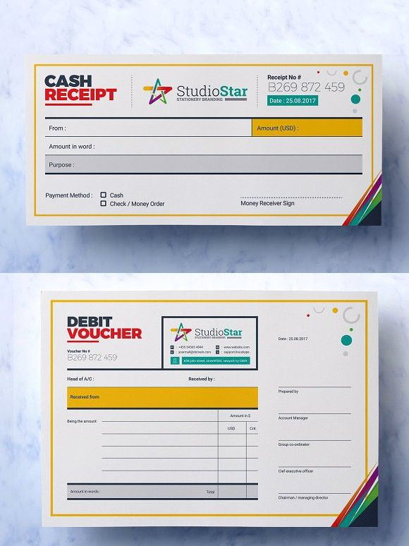 Debit And Credit Cash Voucher Voucher Design Debit Receipt Template