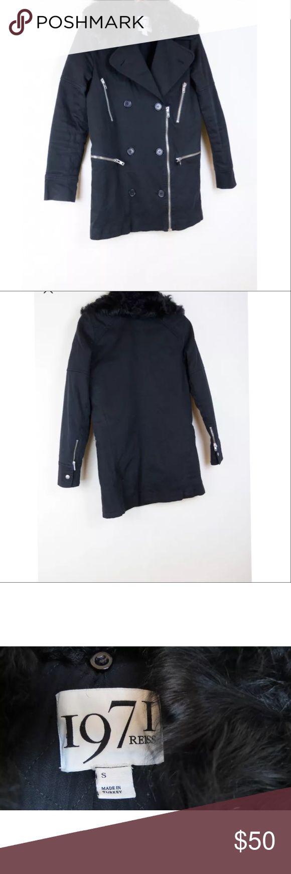 "Reiss 1971 Marleen black lamb fur collar jacket Condition: Good, has a small bald spot on the back of the collar(see photo). 98% cotton, 2% elastan. 28.5"" length, 36"" bust, 36"" waist, 38"" hip, 24"" sleeve length. Reiss Jackets & Coats"