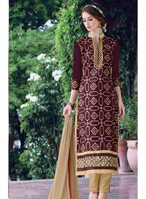 Stylish Brown Color Chanderi Silk Salwar Kameez