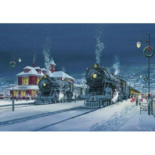 Winter Train Station Scene Christmas Card Health