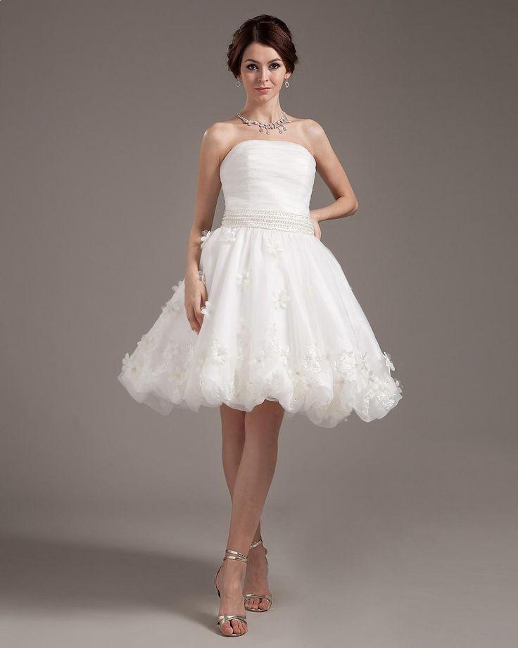 A-line Sleeveless Strapless Short Organza Mini Wedding Dress  Read More:     http://www.weddingscasual.com/index.php?r=a-line-sleeveless-strapless-short-organza-mini-wedding-dress.html
