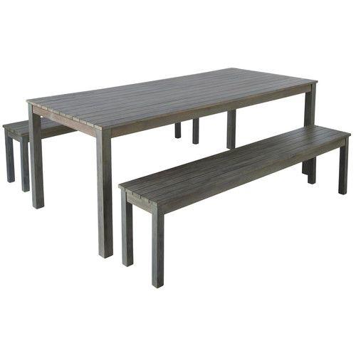 Table de jardin en acacia grisée L 200 cm