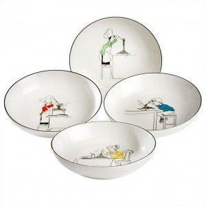 Noritake Le Restaurant Pasta Bowls Set 4