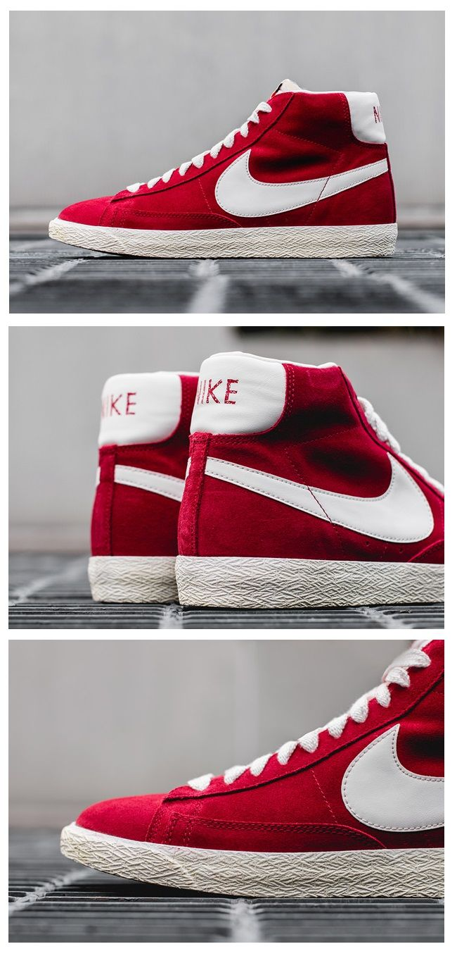 womens nike blazer red grey
