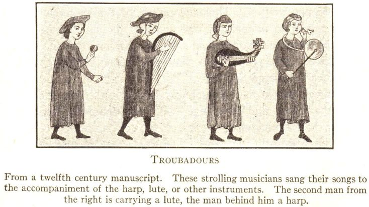 a history of troubadours in middle ages Medieval troubadours world history teaching materials on european middle ages maps & pictures of medieval europe : troubadours from a twelfth-century manuscript these strolling musicians sang their songs to the accompaniment of the harp, lute, or other instruments the second man from the right is carrying a lute, the man behind him a harp middle ages books and films: middle ages.