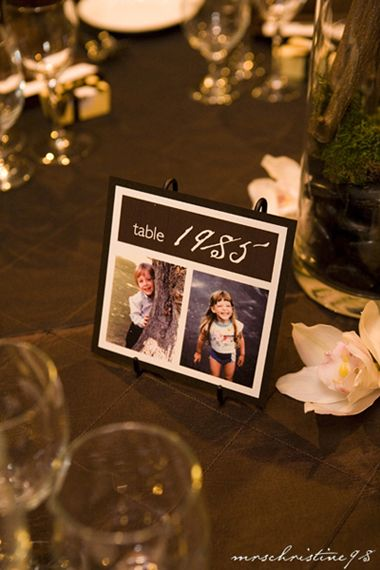 Table Numbers being years with pictures of couple when kids. Won't work for me but love the idea!!