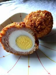 Scotch Eggs, OMG! These look super delicious, the only thing that would really need to be altered would be to use nut crumbs or something similar in place of the  bread crumbs, but it could totally happen!