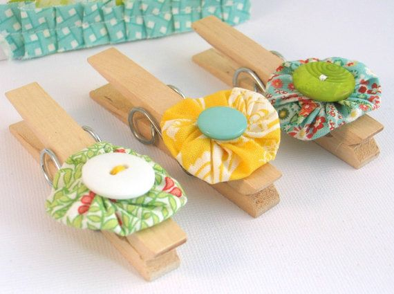 Summer Yoyo Flower Decorated Clothes Pegs by jellybeanstudio, $8.00