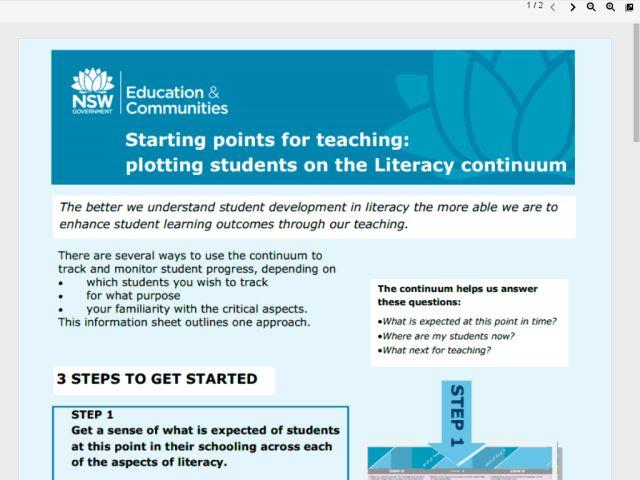 Literacy continuum and English Syllabus