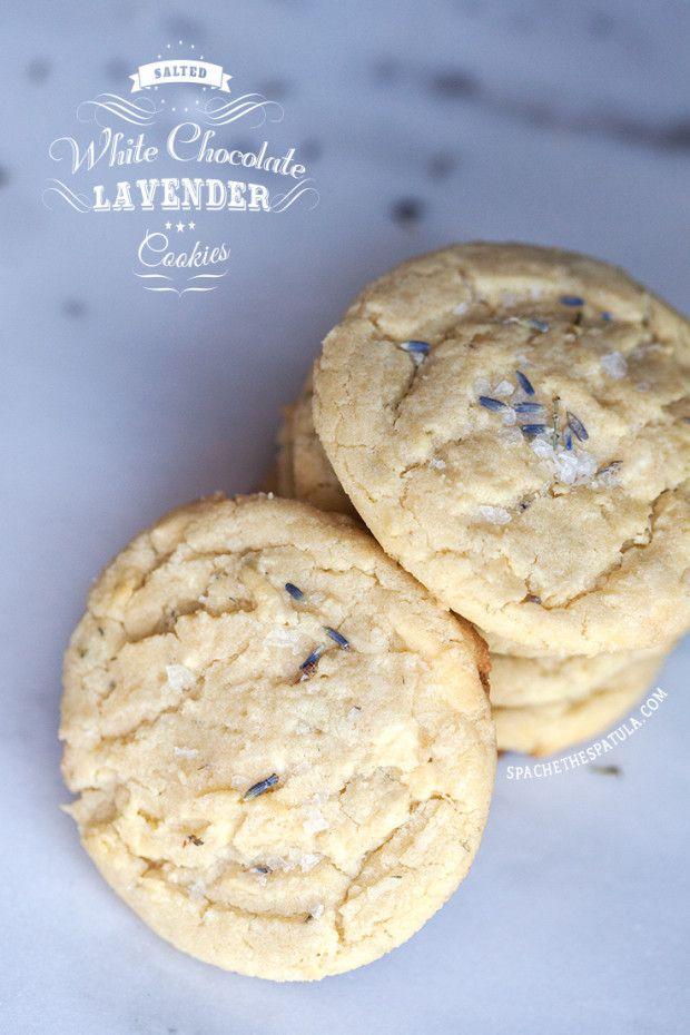 Salted White Chocolate Lavender Cookies | spachethespatula.com #recipe