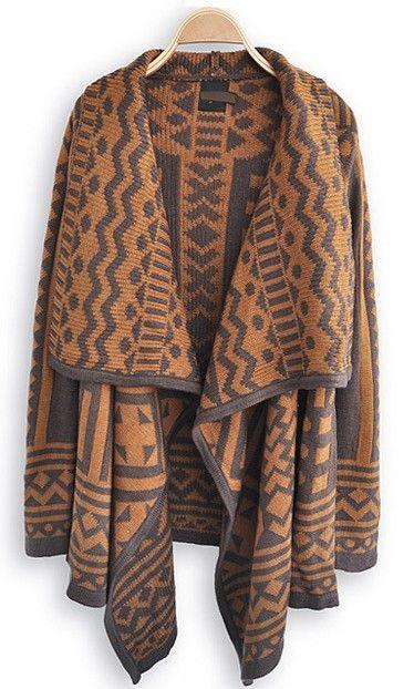 Brown Long Sleeve Geometric Print Cape Sweater