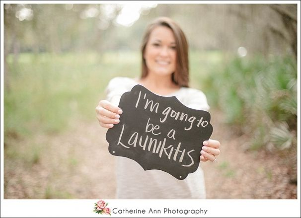 cute engagement session inspiration with a chalk board sign and girls future last name  photo by Catherine Ann Photography (available for travel worldwide)