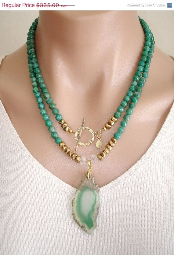 ON SALE Ashira Russian Amazonite Gemstone Necklace with GF Toggle and Natural Druzy Geode Green White Agate Pendant