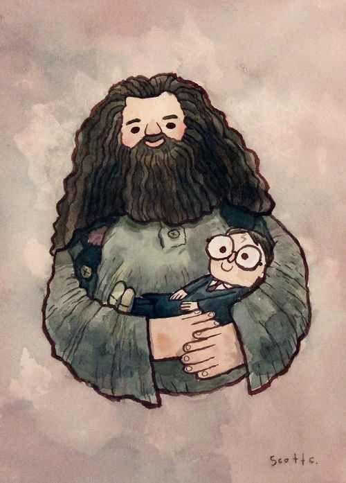 Hagrid y Harry, de pequeño después de la muerte de sus padres.