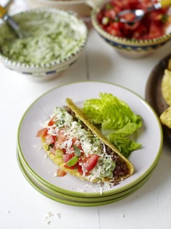 Try Jamie's Classic beef tacos, perfect for cooking with the kids, served with fresh salsa and creamy guacamole this is sure to be a family favourite.