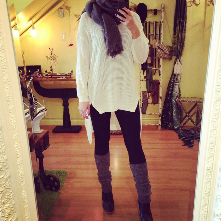 Leggings with built-in leg warmers - genius! High-low knitted top and cotton blend scarf to top it all off