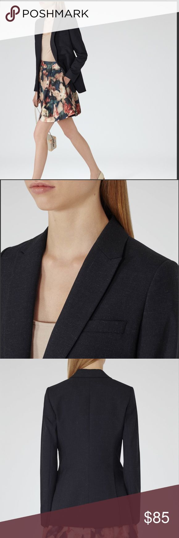 """Reiss Bellemont Boyfriend Blazer Sz: 0 Gorgeous Reiss Bellemont Boyfriend blazer in navy with white specks throughout. Brand new without tags. Unworn- only imperfection is the seem behind the right arm has come undone- very easily fixed at seamstress. Gorgeous structured, yet Boyfriend style long relaxed fit silhouette. Chest pocket, single button closure. Size 0- ( lay flat measures) 27""""in length, 15.5""""in pit to pit with button closed. Questions are welcome! Reiss Jackets & Coats Blazers"""