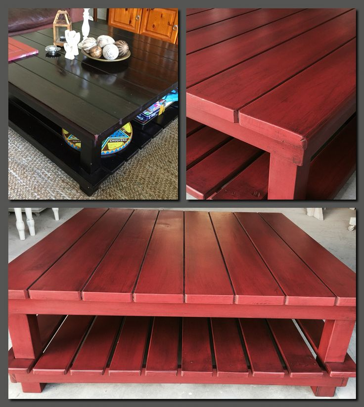 ANTIQUE OXIDE RED COFFEE TABLE