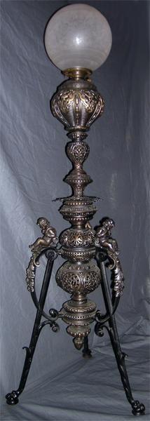 Victorian Piano Lamp With Putti