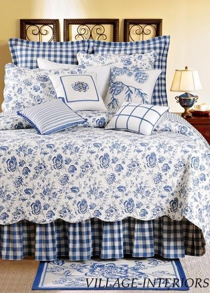 SALE! COUNTRY HOUSE BLUE & WHITE FLORAL TOILE QUEEN QUILT #Cottage