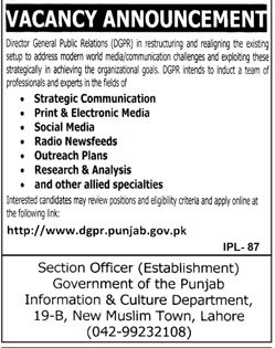 Director General Public Relations DGPR Punjab Government Pakistan Latest January 2018 Strategic Communication  Print & Electronic Media  Social Media  Radio News Feeds  Outreach Plans  Research & Analysis  and other allied specialties  Visit for more information: Click Here              (adsbygoogle = window.adsbygoogle || ).   #breakingnews #DIRECTORATEOFCONSUMER #Division #Education #FormDownload #Government #GOVERNMENTOFTHEPUNJAB #Health #Hea