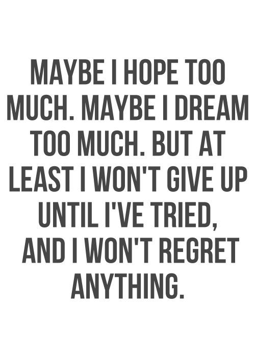 Maybe I hope too much. Maybe I dream too much. But at least I won't give up until I've tried, and I won't regret anything. thedailyquotes.com