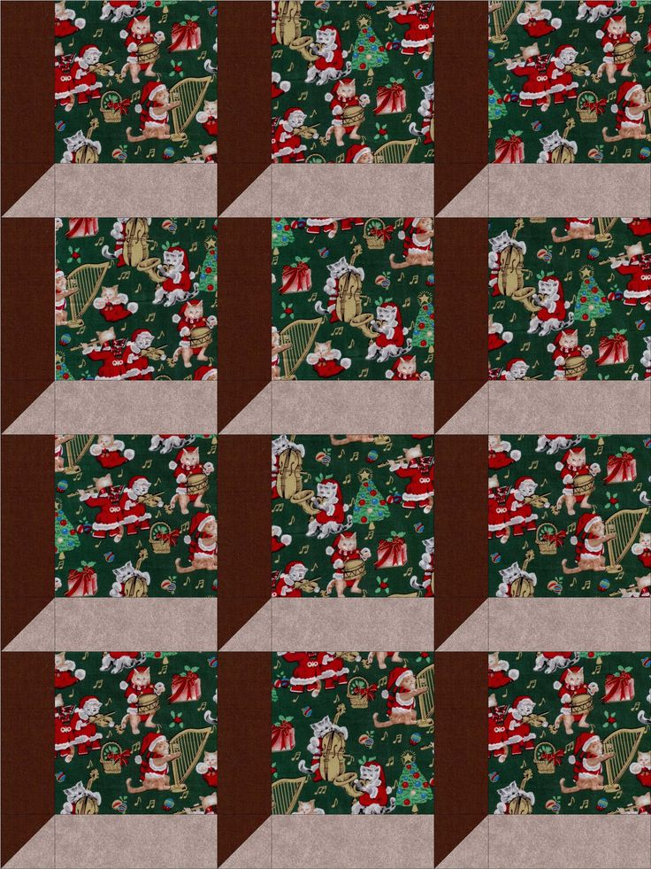 Christmas Cats And Music Quilt Kit Pre Cut Blocks
